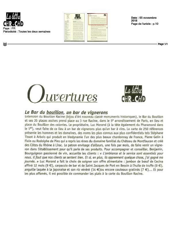 La Lettre CHR-CHD, article