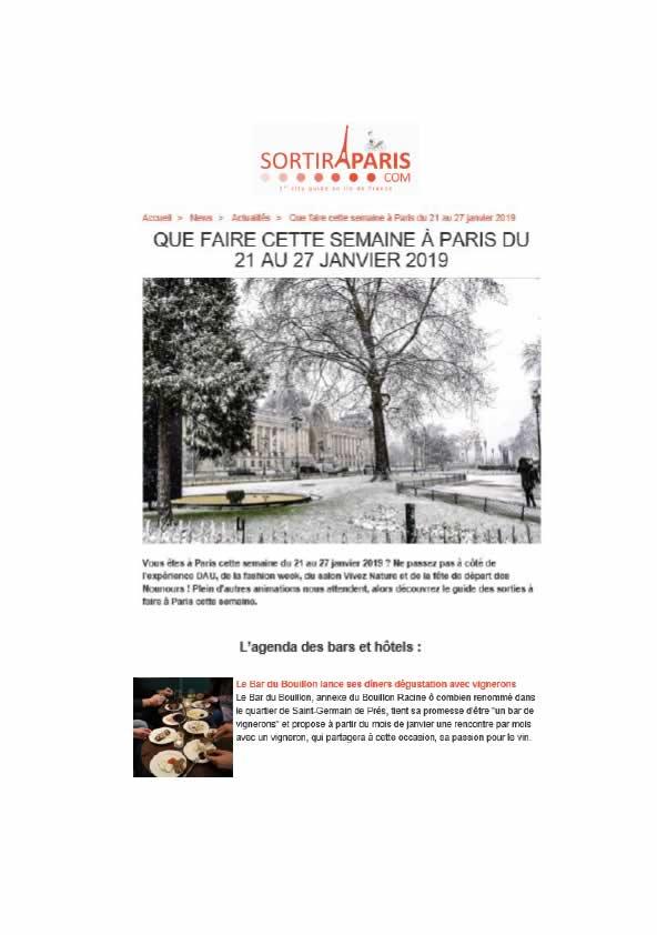 Sortir à Paris, janvier 2019