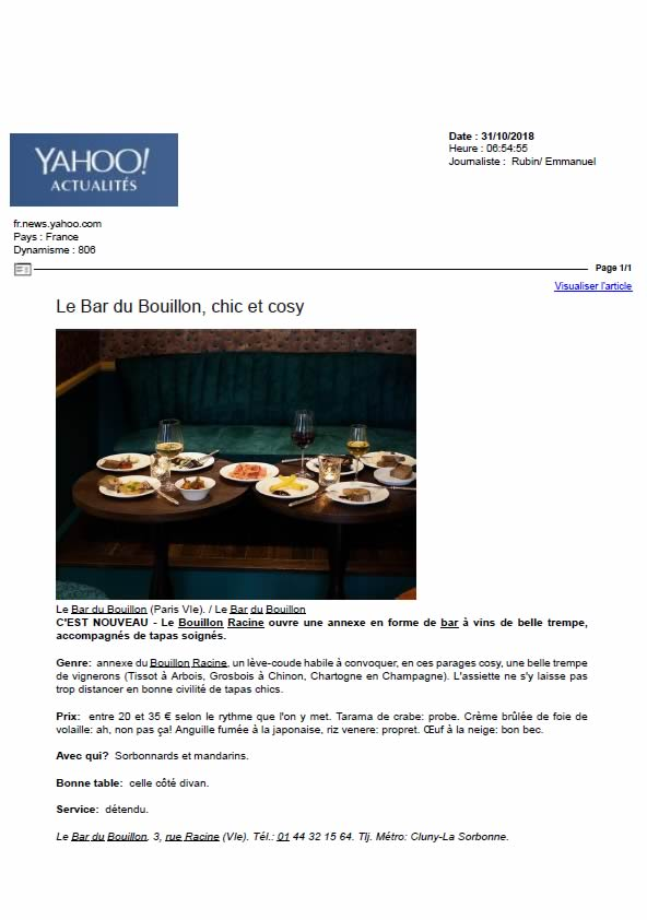 Yahoo actualités, octobre 2018
