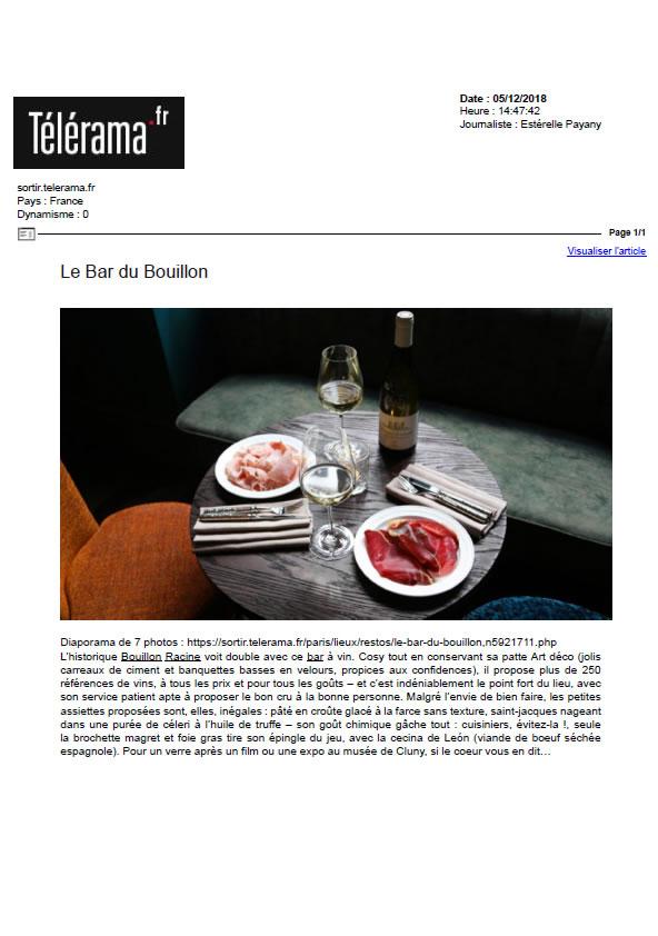 Télérama.fr, décembre 2018