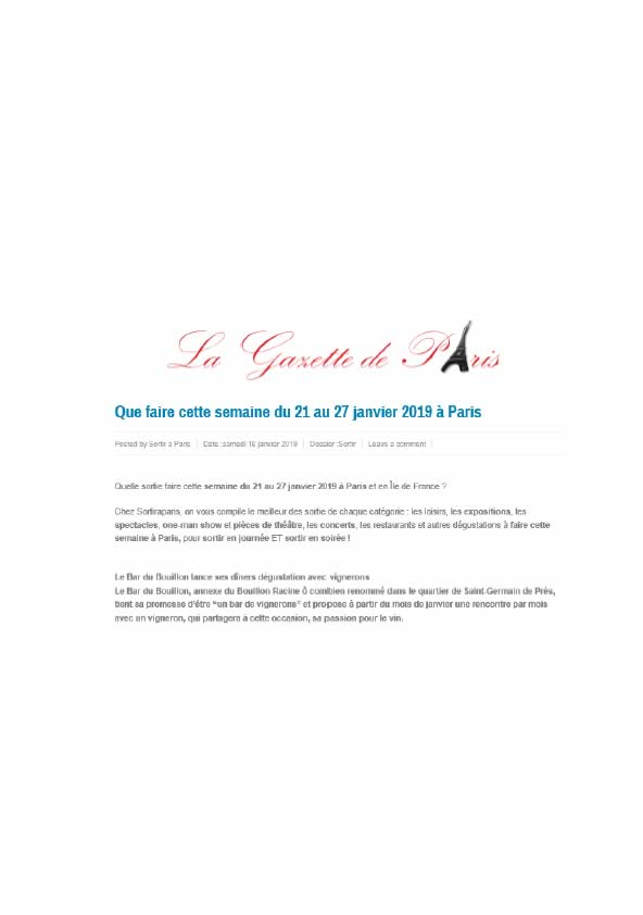 La Gazette de Paris, janvier 2019